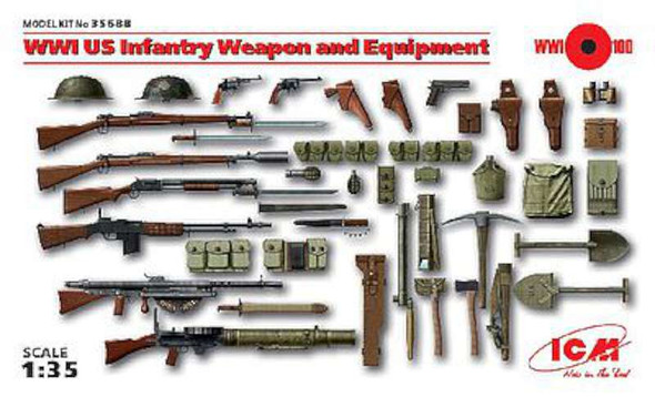 WWI US Infantry Weapon & Equipment (New Tool) -- Plastic Model Weapon -- 1/35 Scale -- #35688