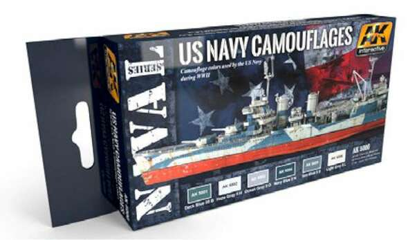 Naval Series: US Navy WWII Camouflages Acrylic Paint Set (6 Colors) 17ml Bottles