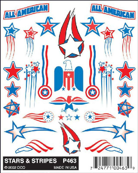 Pinecar PIN463 Stickon Decals, Stars and Stripes