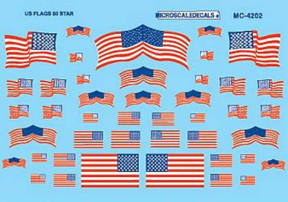 American 50-Star Flags Decals -- HO Scale Model Railroad Decal -- #4202