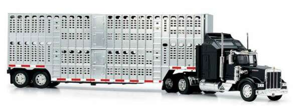 New Ray Kenworth W900 Pot Belly Livestock Black (1:43) Model