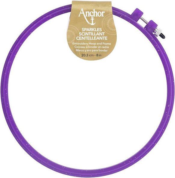 """Anchor Sparkle Plastic Embroidery Hoop Assorted Colors 8"""" Diameter Blue, Purple Or Yellow"""