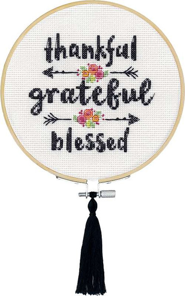 """Dimensions Counted Cross Stitch Kit W/Hoop 6"""" Grateful & Blessed (14 Count)"""