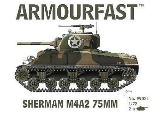 Sherman M4A2 75mm Tank (2) -- Plastic Model Tank Kit -- 1/72 Scale -- #99021
