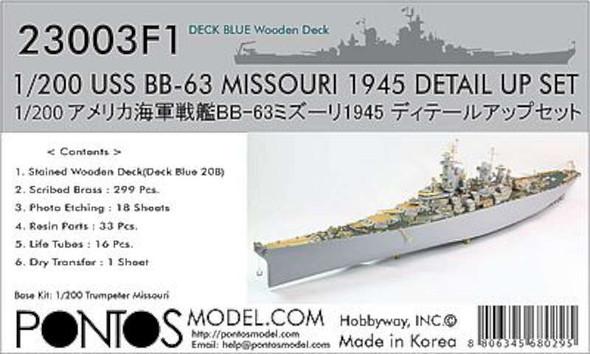 USS Missouri BB63 1945 Blue Tone Deck & Detail Set -- Plastic Model Ship Detail -- 1/200 -- #230031