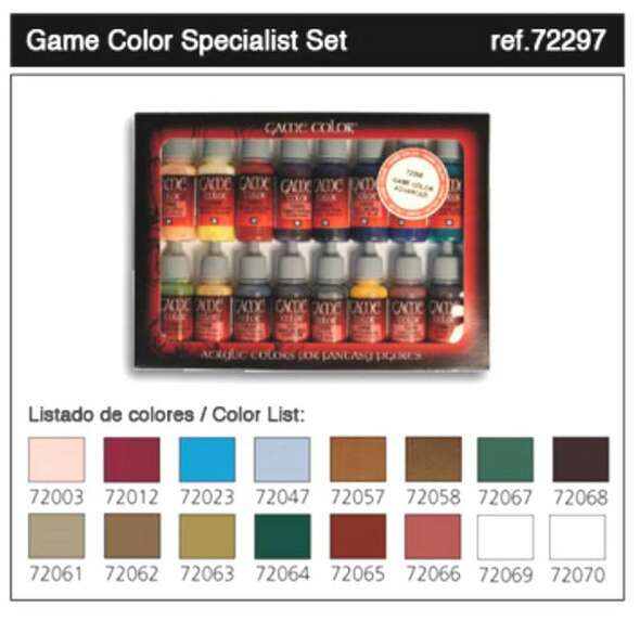 Vallejo Acrylic Paints Specialist Game Color Paint Set (16 Colors)