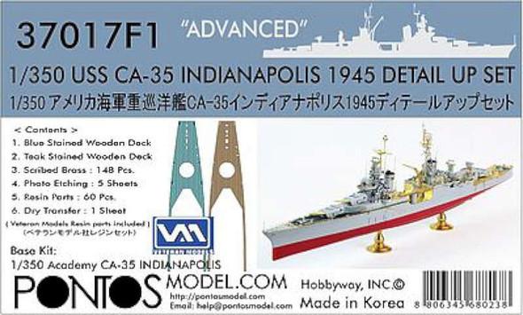 USS Indianapolis CA35 1945 Detail Set -- Plastic Model Ship Accessory -- 1/350 -- #370171