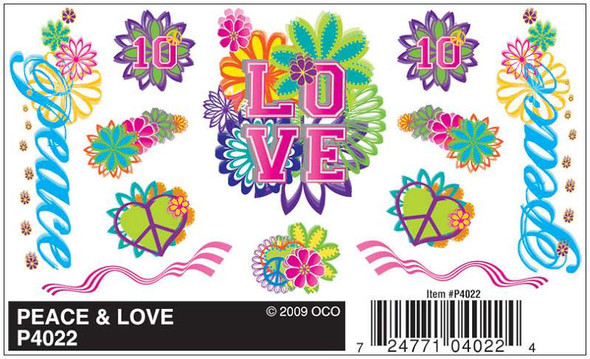 Pinecar PIN4022 Dry Transfer Decals, Peace and Love