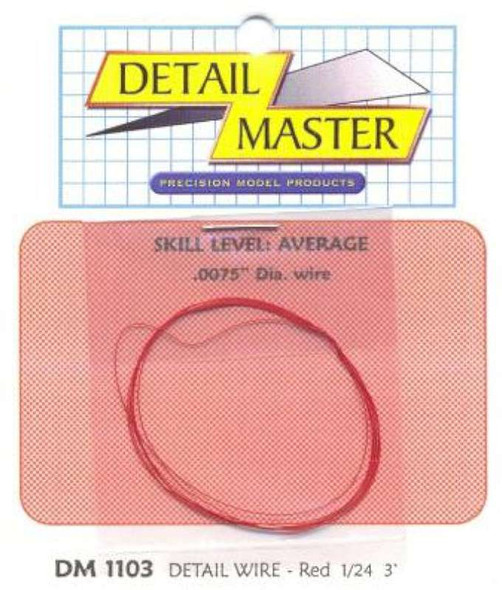 Detail Master 3ft. Detail Wire Red -- Plastic Model Vehicle