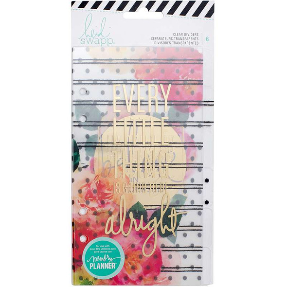 Heidi Swapp Personal Memory Planner Dividers 6/Pkg Clear W/Gold Foil & Printed Designs