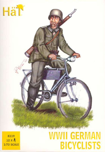 12 German WWII Bicyclists Plastic Soldiers Army Men 8119
