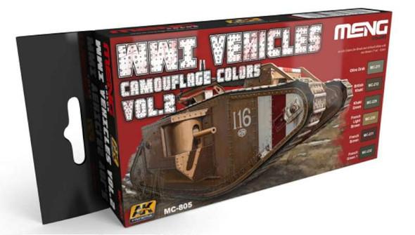 WWI Vehicles Camouflage Colors Vol.2 Acrylic Paint Set (6 Colors) 17ml Bottles