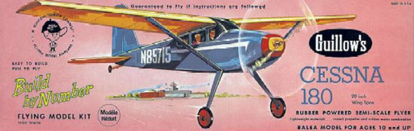 Guillow 601 Cessna 180, Build by Number Flying Model Kit
