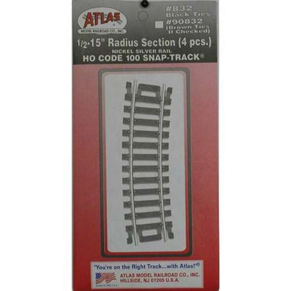 "Atlas 832 Code 100 - 1/2 15"" Radius Snap-Track - HO"