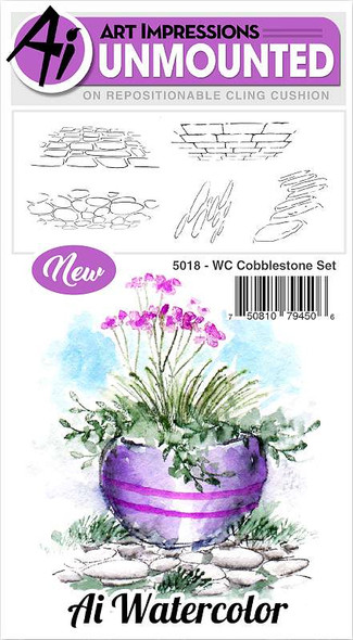 Art Impressions Watercolor Cling Rubber Stamps  Cobblestone