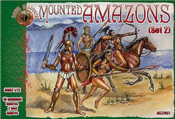 Amazons Mounted Women Warriors Set #2 -- Plastic Model Fantasy Figure -- 1/72 -- #72021