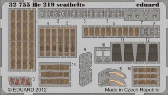Eduard Models Aircraft- He219 Seatbelts -- Plastic Model Aircraft