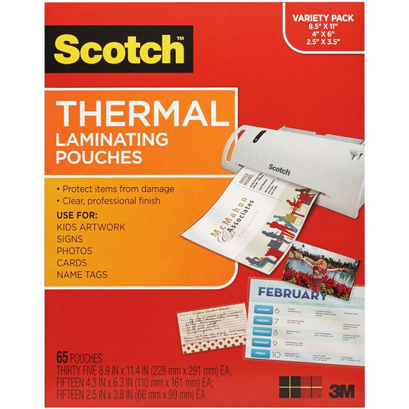 """Scotch Variety Pack Thermal Laminator Pouches 3 Mil 65/Pkg (35) Letter, (15) 4""""X6"""" & (15) Wallet"""