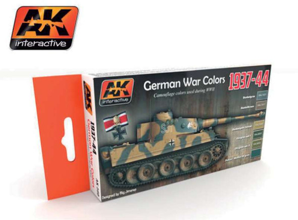 AK Interactive German War Colors 1937-44 Acrylic Paint -- Hobby and