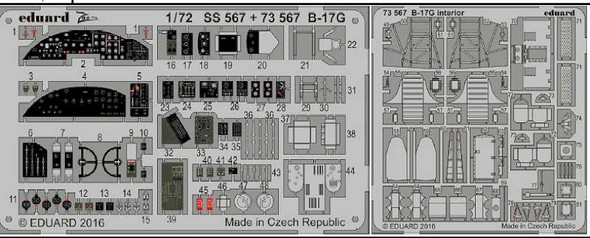 1/72 Aircraft- B17G Cockpit Interior for ARX (Painted)