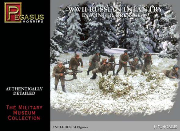 Pegasus Hobby 1/72 WWII Russian Infantry in Winter Dress Set 2 PGH7272