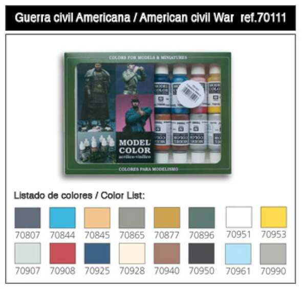 Vallejo Acrylic Paints 17ml Bottle American Civil War Model Color