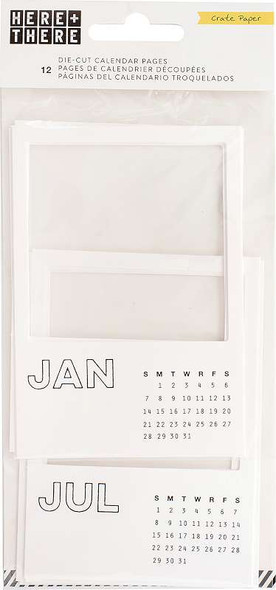 Here & There Die-Cut Calendar Pages 12/Pkg