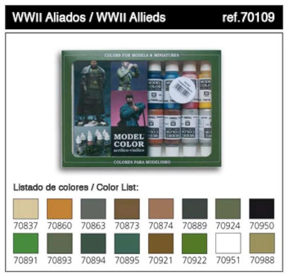 Vallejo Acrylic Paints 17ml Bottle WWII Allied Model Color Paint Set