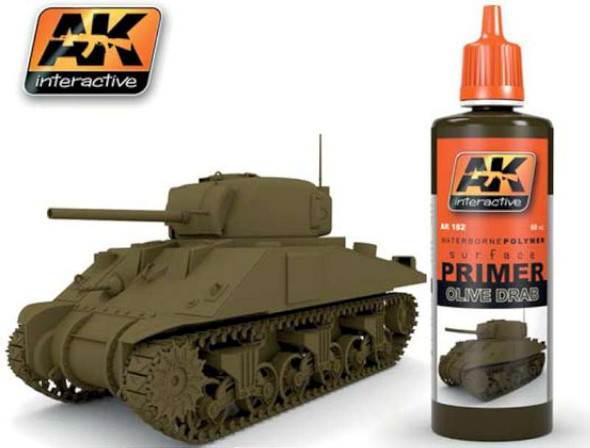 AK Interactive Olive Drab Acrylic Primer 60ml Bottle -- Hobby and