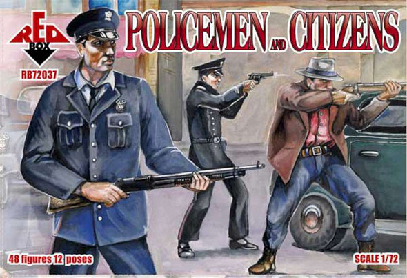 Model Figures - American Policemen and civilians- 1:72 -Red Box