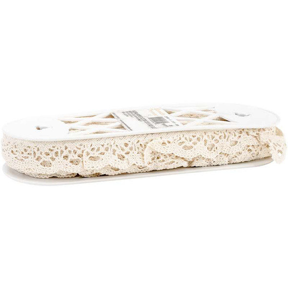 """Ruffled Cotton Cluny Lace Edge Trim 2""""X18yd Natural"""