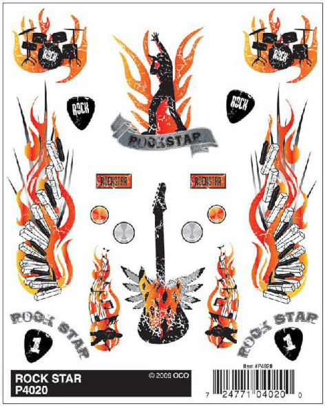 Pinecar PIN4020 Dry Transfer Decals, Rock Star