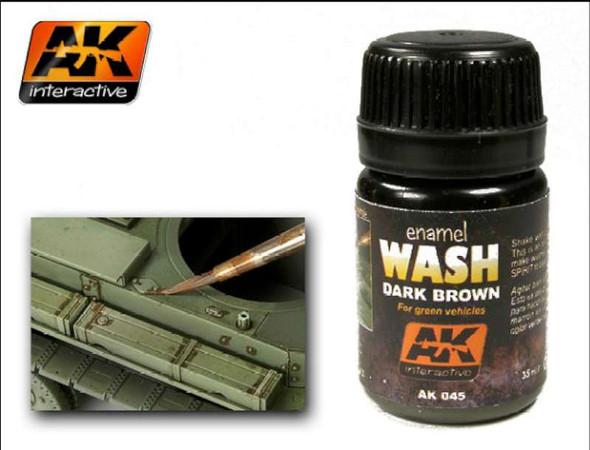 AK Interactive - Enamel Wash: Dark Brown for Green Vehicles - AK00045