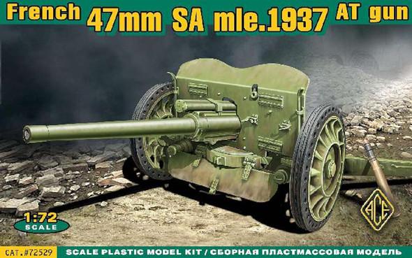 Military Model Kit - French 47mm Anti-Tank Gun in 1937- 1:72 -Ace