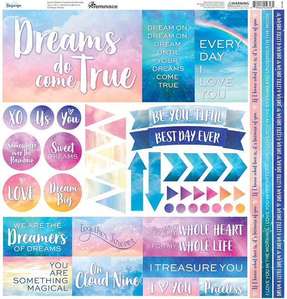 """Reminisce Elements Cardstock Stickers 12""""X12"""" Skyscape"""