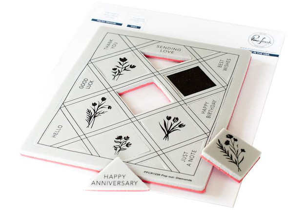Pinkfresh Studio Cling Rubber Background Stamp Set A2 Pop-Out Diamonds