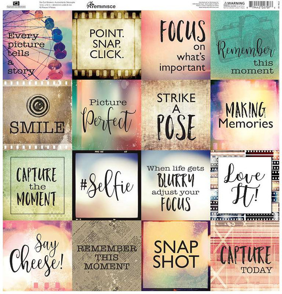 """Reminisce Square Cardstock Stickers 12""""X12"""" Capture The Moment"""