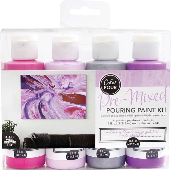 American Crafts Color Pour Pre-Mixed Paint Kit 4/Pkg Mulberry Bliss