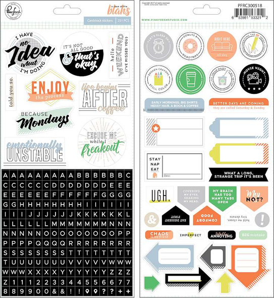 """A Case Of The Blahs Cardstock Stickers 5.5""""X11"""" 2/Pkg"""