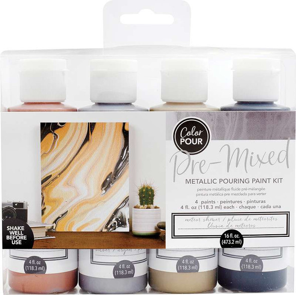 American Crafts Color Pour Pre-Mixed Paint Kit 4/Pkg Meteor Shower