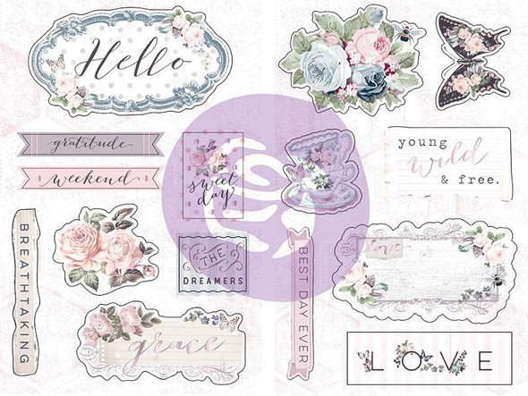 Poetic Rose Chipboard Stickers 15/Pkg Icons W/Foil Accents