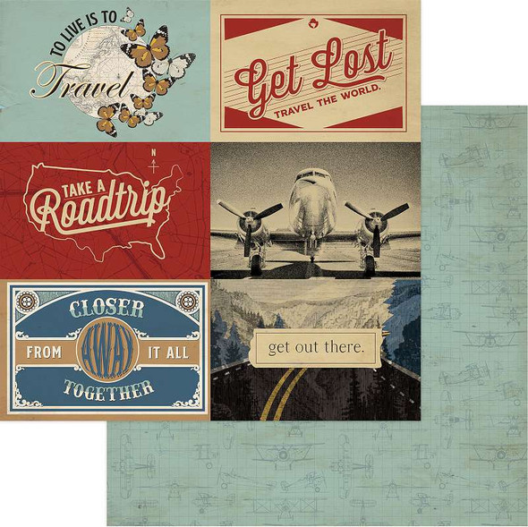 """Here & There Double-Sided Cardstock 12""""X12"""" Get Lost"""