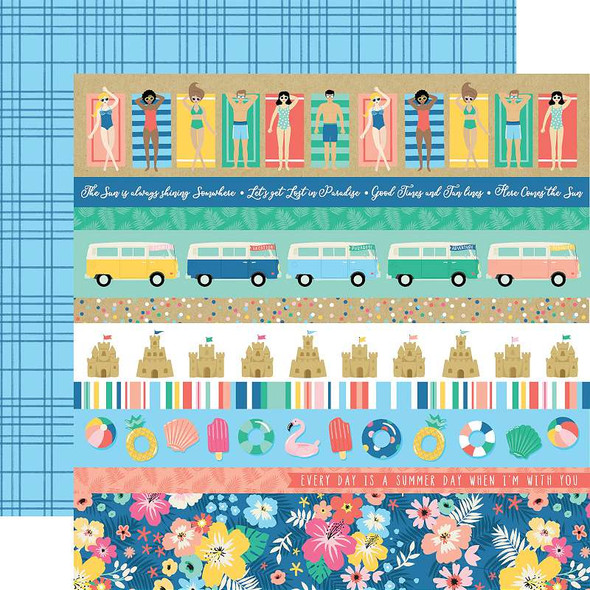 """Dive Into Summer Double-Sided Cardstock 12""""X12"""" Border Strips"""