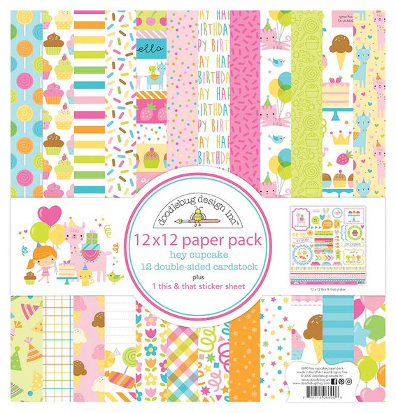 """Doodlebug Double-Sided Paper Pack 12""""X12"""" 12/Pkg Hey Cupcake"""