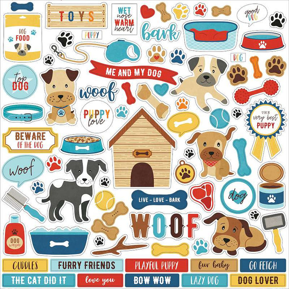 """I Love My Dog Cardstock Stickers 12""""X12"""" Elements"""