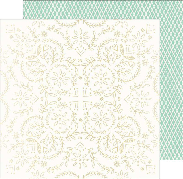 """Maggie Holmes Sunny Days Foiled Cardstock 12""""X12"""" W/Gold Foil Accents"""