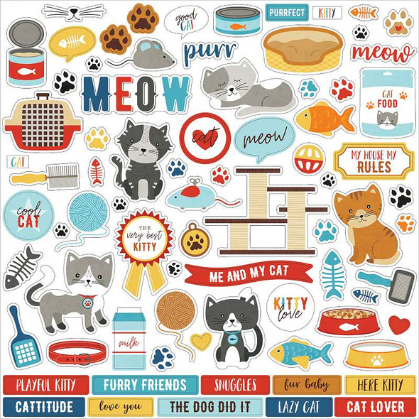 """I Love My Cat Cardstock Stickers 12""""X12"""" Elements"""