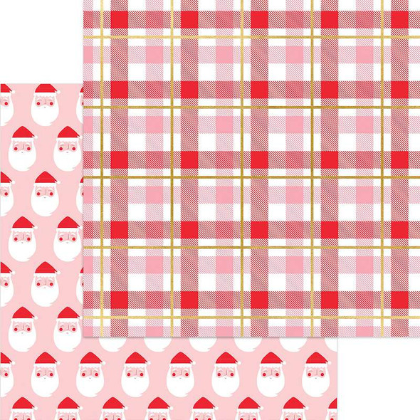 """Holly Jolly Double-Sided Foiled Cardstock 12""""X12"""" Here Comes Santa Claus"""