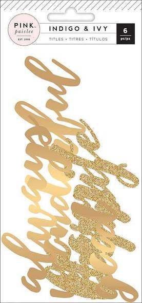 Indigo & Ivy Cardstock Die-Cuts 6/Pkg Titles W/Gold Foil & Glitter Accents