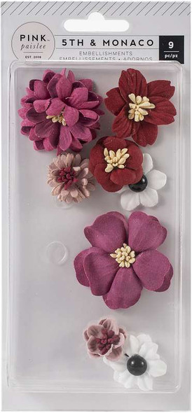 5th & Monaco Dimensional Flowers 9/Pkg Paper & Cloth